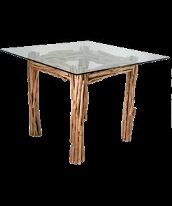 DEIO – Table carrée verre et bois