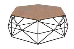 HEXA – Table basse filaire en sungkai et métal